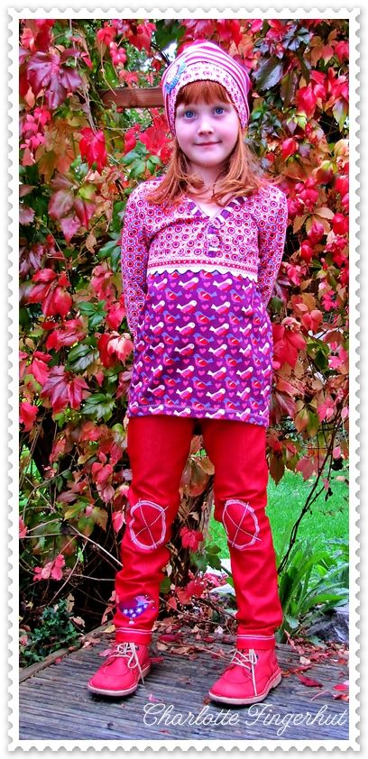 Schnitt Hose: Treggings Basic 36 Lillesol & Pelle Schnitt Shirt: Sunny & Sam von Fee Fee Stoff Hose: Strechjersey aus dem Stoffladen Stoff Shirt: Birdy Love & Birdy Love Kombi von Lillestoff Mütze: Lilly Jerseyhut abgewandelt Stickerei: Stereomint & Poppy