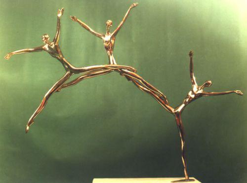 Bronze Human Figurative #sculpture by #sculptor Esther Wertheimer titled: 'Three Dancers' #art