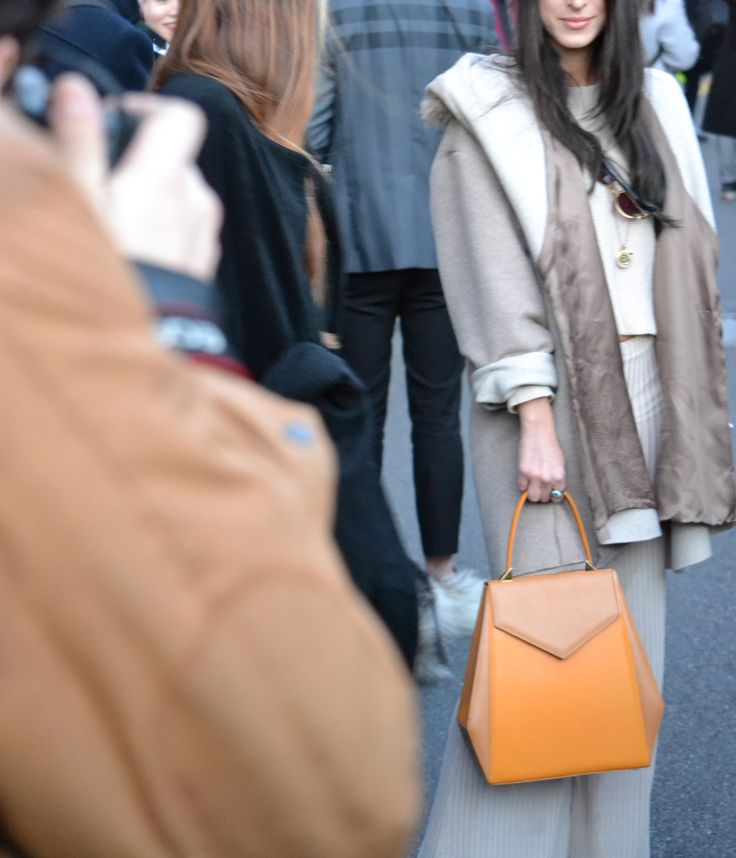 Castamusa GALA bag - streetstyle at Milan Fashion Week.  Bicolor leather bag in yellow & mustard, Made In Italy.