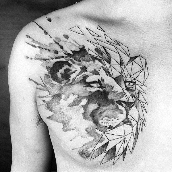 Geometric Lion Chest Tattoos For Men