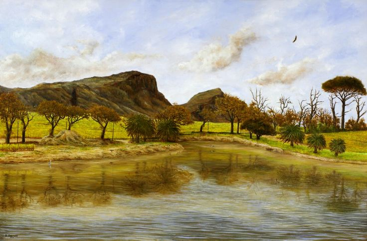 Dam at Groot Constantia - Oil on Canvas. 58 x 88 cm. A view of the dam on Groot Constantia, one of the oldest wine estates in the Southern Hemisphere (1685). An African Fish Eagle circles above with the back of Table Mountain in the background. I painted this from a charcoal sketch I did sitting on the bank of the dam.
