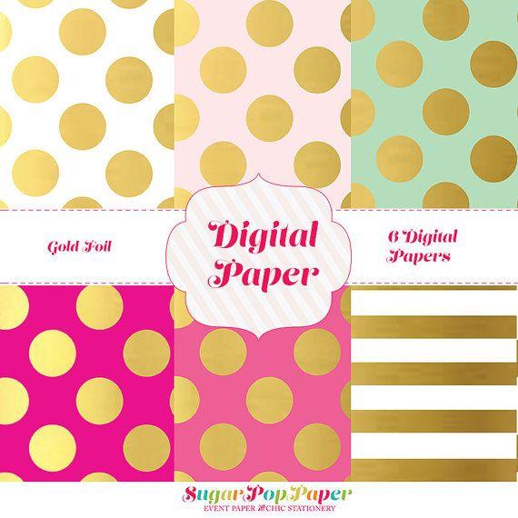 50%-OFF-INSTANT DOWNLOAD Gold Foil Polka Dot Paper-Printable digital papers scrapbooking, cardmaking, baby shower, blog background
