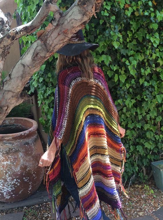 LONG Handknit Womens Bohemian Festival Hippie Beach door poshbygosh
