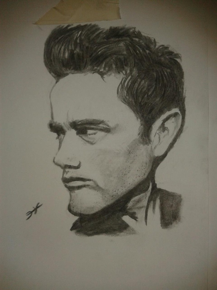 JAMES DEAN in charcoal