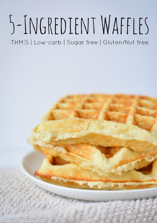 5-Ingredient Waffles (THM:S, Low-carb, Sugar free, Gluten and Nut free)...these waffles can be frozen and reheated in the toaster!