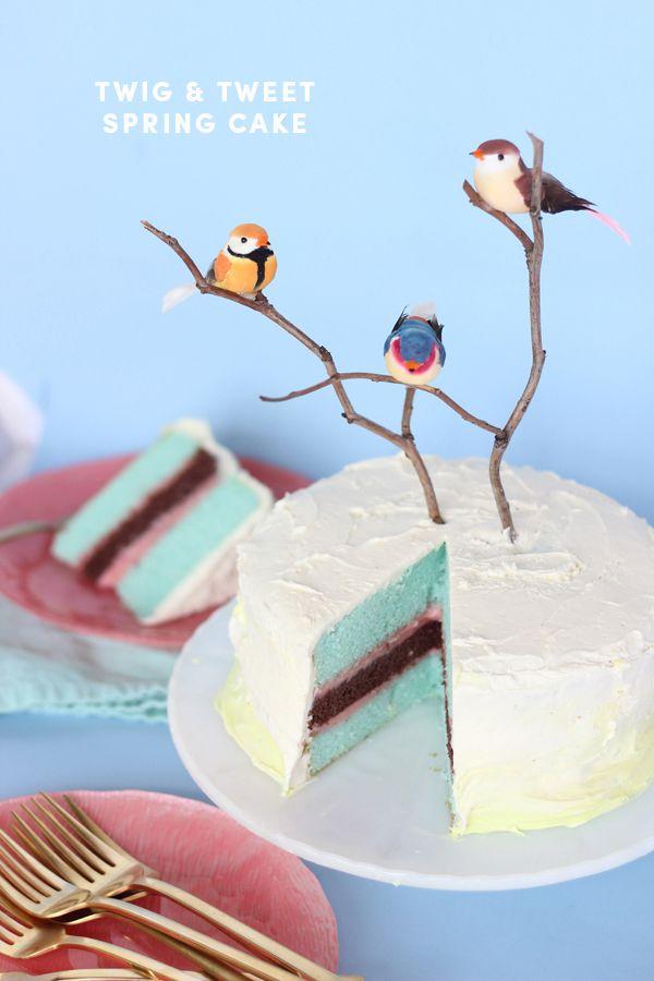 BIRTHDAY WEEK: DIY twig & tweet spring cake | The Sweet Escape