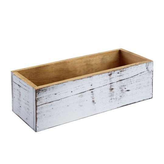 <div><div>This small pine box has a rustic, whitewash finish. It's great for use as a storage bi...