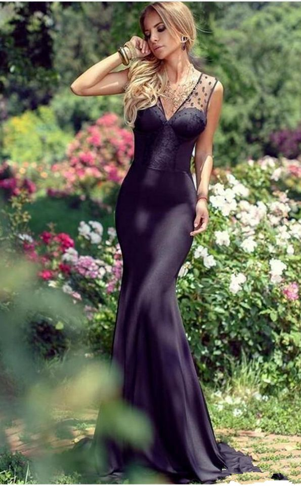 New Evening Dresses Off The Shoulder Party Evening Gown Sexy Black Open Back Chiffon Mermaid Prom Dress Vestido De Festa evening dresses