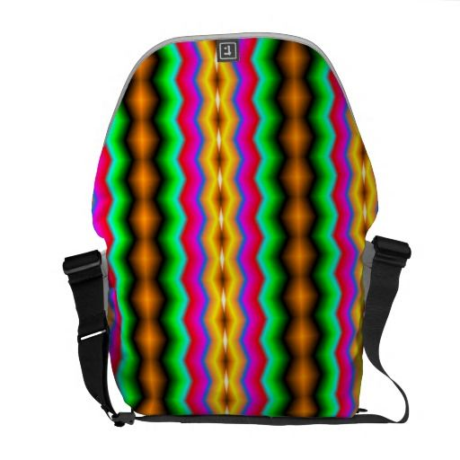 Vertical colorful line pattern courier bag