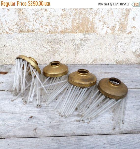 OP VERKOOP 20% Vintage 5 antieke Art nouveau brass & glas tube / buisvormige kralen/ijspegels lampenkappen