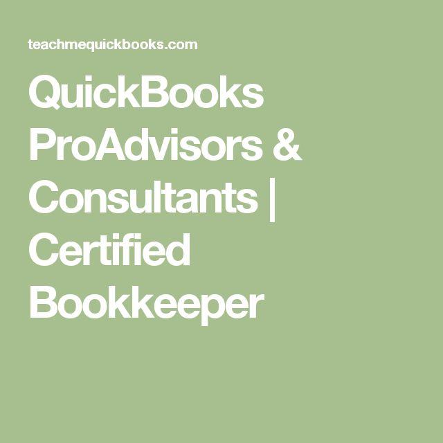 QuickBooks ProAdvisors & Consultants   Certified Bookkeeper