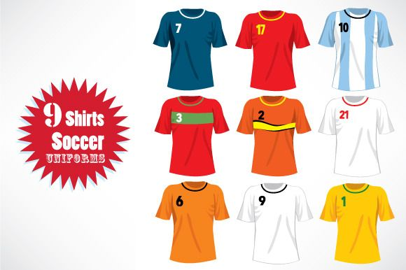 Soccer Team Uniforms Shirts by Kakigori Studio on Creative Market