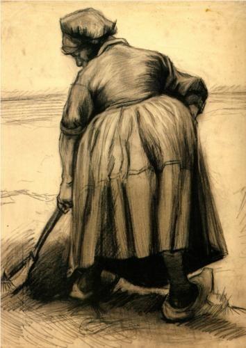 Peasant Woman Digging - Vincent van Gogh