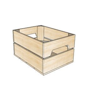 Caisse en bois 2 Lattes - 1/2 Large