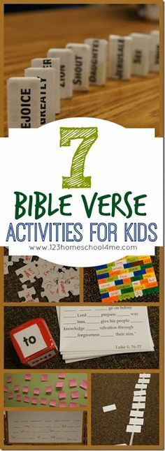 Fun, hands-on activities for kids to practice any Bible verse! These work for any kids who are reading (1st-6th grade). Sunday school, VBS, anytime.