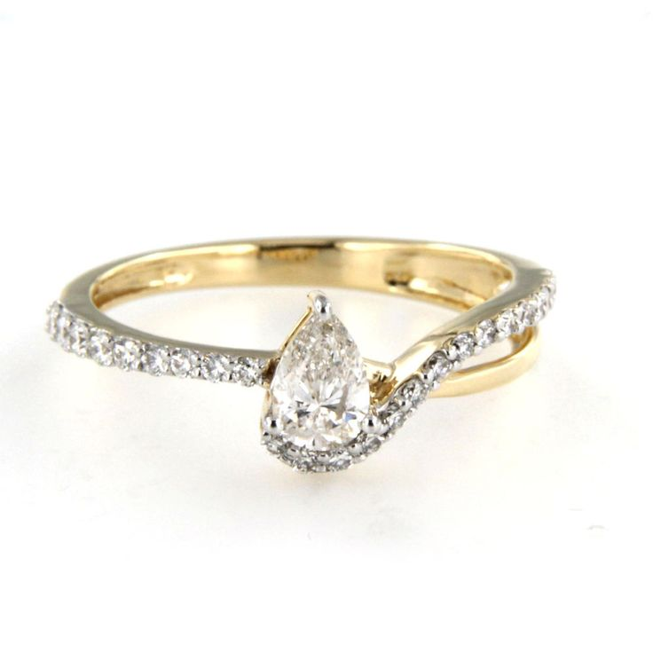 Pear Shape White Diamond Engagement Ring in Yellow Gold On 925 Sterling Silver #adorablejewelry #EngagementRing