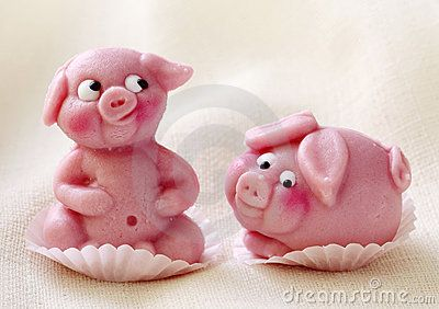 Marzipan pigs for good luck (Germany). In Germany, pigs are known as a symbol for good luck. Marzipan pigs are a popular confectionery, especially as a gift on New Year's Eve.