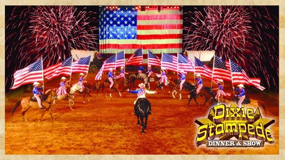 Come to the Dixie Stampede Dinner & Show in Branson, Missouri where you'll experience the most fun place to eat. See trick riders perform stunts on perfectly trained horses, patriotic displays, a friendly competition, and more as you feast upon a hearty four-course meal.