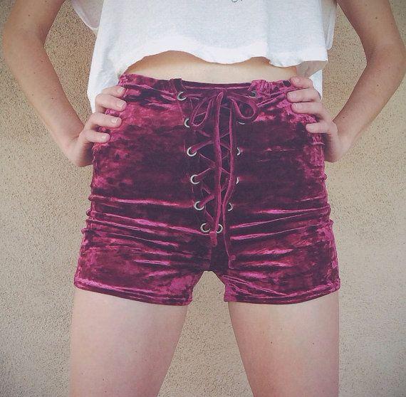 Crushed Velvet Lace Up Shorts by HomeCookedKarma on Etsy