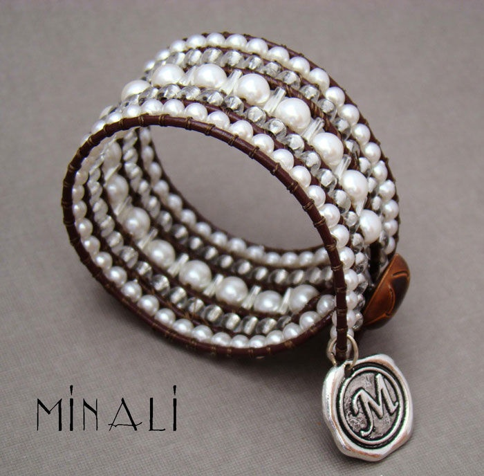 Southern Girls Wear Pearls - Pearl & Leather Cuff Wrap Bracelet -