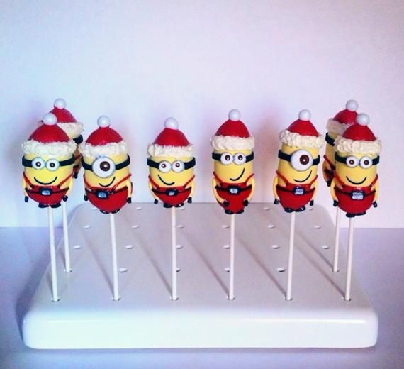 Christmas minion cake pops