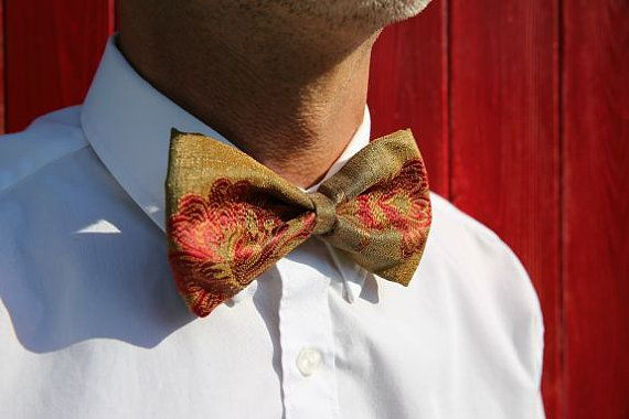 Men's bow tie clip on bow tie gold floral by LittleBlueBirdSays