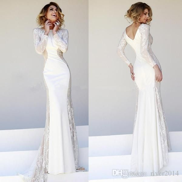 White Lace Evening Gowns 2014 Bateau Long Sleeve Satin Mermaid SSJ Zipper Floor Length Elegant Slim Sexy Wedding/Pageant Dresses 2015 Newest from River2014,$141.03 | DHgate.com