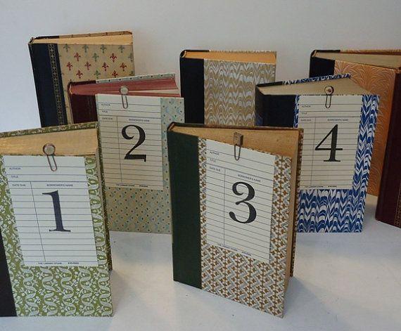 Book Table Numbers Book Lovers Wedding by TheVintageOrangeJar
