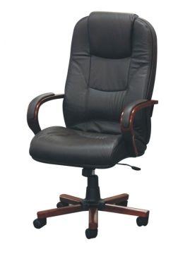 Kancelářské křeslo, kancelářská židle TC3-737, černá kůže se dřevem