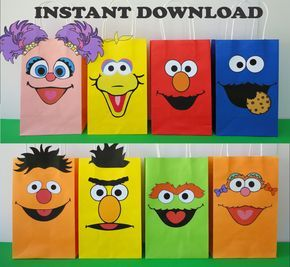 Make your own Sesame Street Favor bags for your little ones B-day Party! They are very easy to assemble and Im sure youll have lots of fun making them! You may print as many as you need! *Whats included with your purchase? A PDF file w/ the following 8 printable templates: - A page w/ 2 Elmo - A page w/ 2 Cookie Monster - A page w/ 2 Big Bird - A page w/ 1 Abby Cadabby - A page w/ 2 Oscar - A page w/ 2 Bert - A page w/ 2 Ernie - A page w/ 2 Zoe - Instructions Sheet (Bags are not included)…