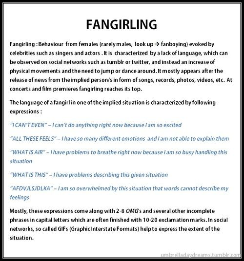 Common problems. Seriously pulling this out next time someone asks what fangirling is. Gonna have to print it out now. And then make a demonstration of this 'peculiar' behaviour.