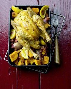 Kip met (Zoete) Aardappelen, Sjalotjes en Citroen. Delicious recept.