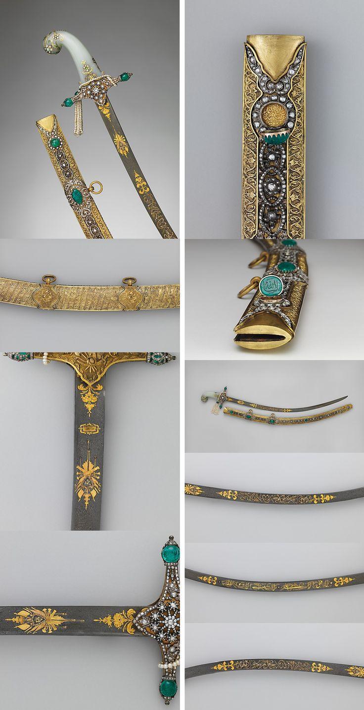 Saber with Scabbard Date: 19th century Culture: Turkish Medium: Steel, gold, gilt brass, diamonds, emeralds, pearls