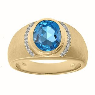 Men's Oval-Cut Blue Topaz and Diamond Ring In Yellow Gold Gemologica.com offers a unique selection of jewelry for men. Our men's jewelry includes bracelets, earrings, rings, chains, pendants and necklaces, and accessories. We offer one of the largest and most discriming selections of mens gemstone and birthstone rings, crafted in silver and 10K, 14K and 18K yellow, white and rose gold. Our complete men's fashion jewelry collection can be seen here…