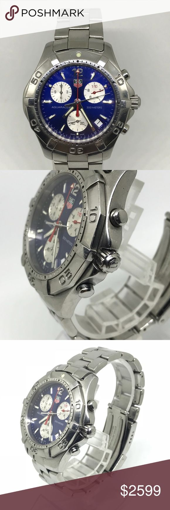Tag Heuer aquaracer chronograph steel mens watch Preowned chronograph Tag Heuer aquaracer mens watch. Very good condition all pictures real. No box and papers. Tag Heuer Accessories Watches