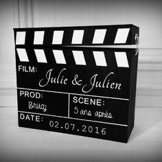 Urne mariage anniversaire thème cinéma - clapet - l'instant c