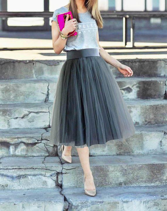 8e883b110 Gray tulle skirt. Tulle skirt women. Tea length tulle skirt. Woman tulle  skirt