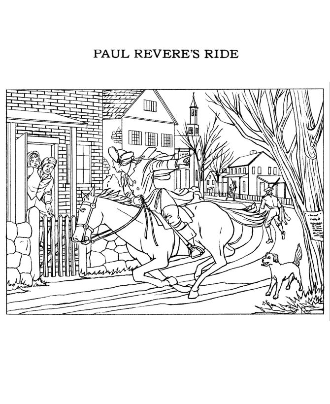 Revolutionary War The Ride of Paul Revere Coloring Page