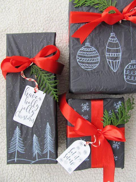 Black paper ! Christmas decorations! Gift. #prezenty #prezen #czarny #papier #gift #christmas #idea #diy #komodapomyslow