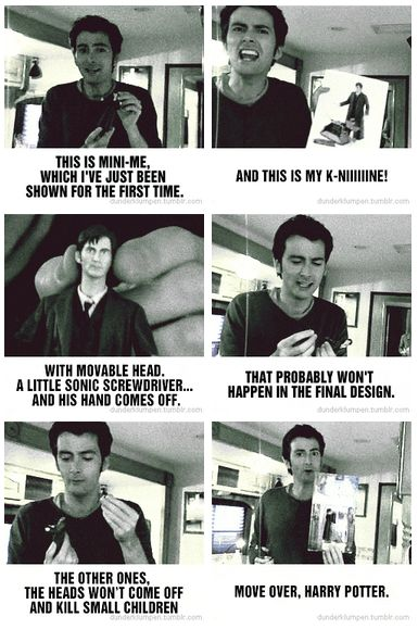 """David Tennant (the tenth doctor) meets """"mini him"""" for the first time!! LOL. """"Move over, Harry Potter."""""""