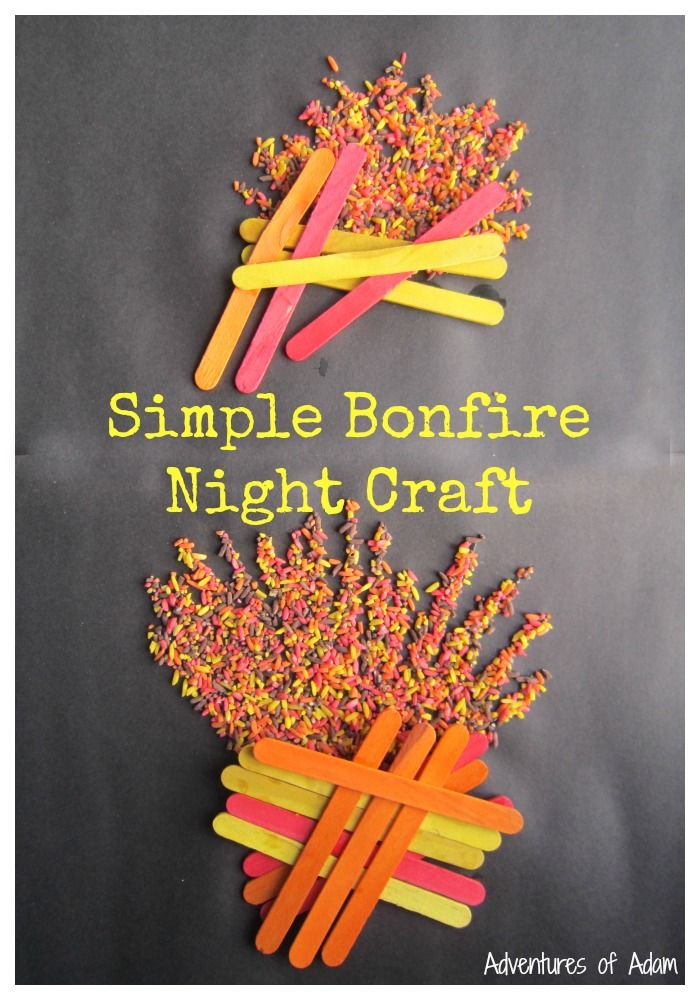 Simple Bonfire Night Craft that is easy for preschoolers. Use coloured rice and PVA glue to create the flames and coloured lolly sticks to represent bonfire. Quick craft to celebrate Guy Fawkes Night.