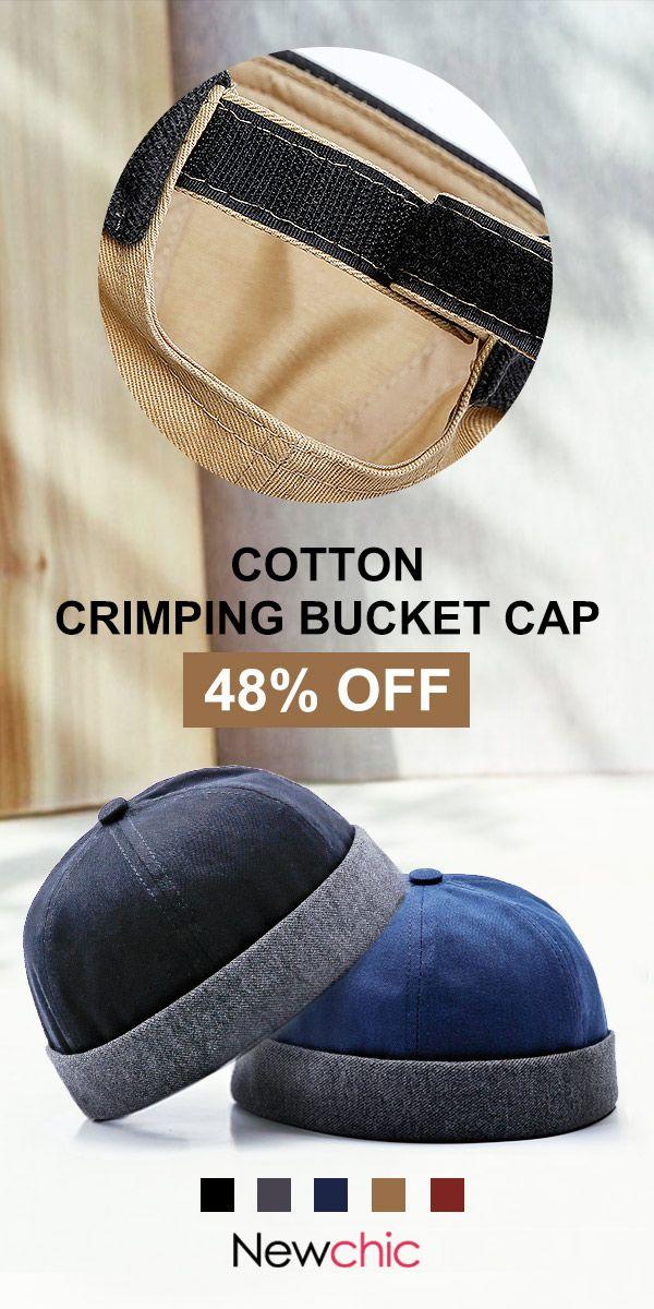5a0f1850c17 Adjustable Solid Cotton French Bucket Cap Retro Vogue Crimping Brimless Hats.   cap  vintage  style  mensfashion