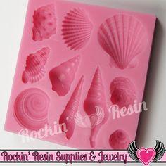 Ocean SEASHELLS SILICONE MOLD, Food Grade, Flexible Sea Shell Mold, Fondant Mold, Chocolate Mold, Candy Mold, Polymer Clay Mold, Resin Mold