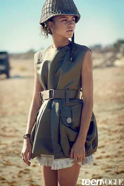 Fashion Editorial: Zendaya is a military girl in kaki green for Teen Vogue February 2015.
