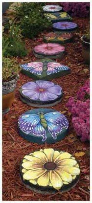 Paint beautiful flower and butterfly designs on plain stepping stones to make an enchanted garden path