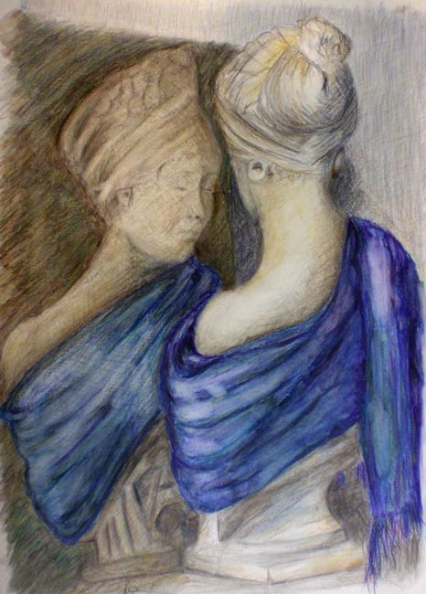 The girl in the mirror, coloured pencils