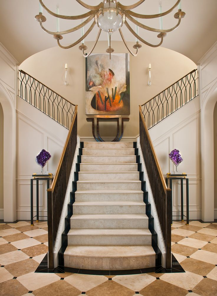 Dallas residence entry with French limestone slab staircase and custom iron  railing merges classic architecture with modern accents.by interior designer  ...