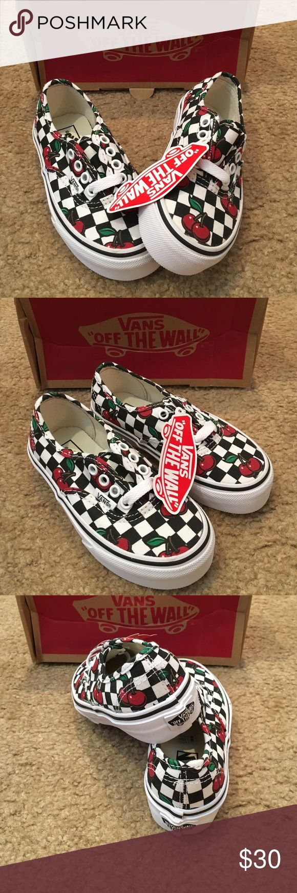 Unisex Kids Authentic Cherry Checkers Vans shoes New in box. Black/white. Cherries. Little kid size 10.5 Vans Shoes Sneakers
