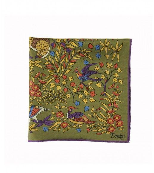Bird of Paradise Print Silk Pocket Square - New Arrivals - Online Shop - Drake's