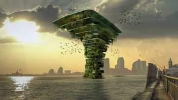 """So soll er aussehen, der """"Sea Tree"""" – das erste Gebäude der Welt nur für Tiere und Pflanzen. (Quelle: Waterstudio.NL)"""